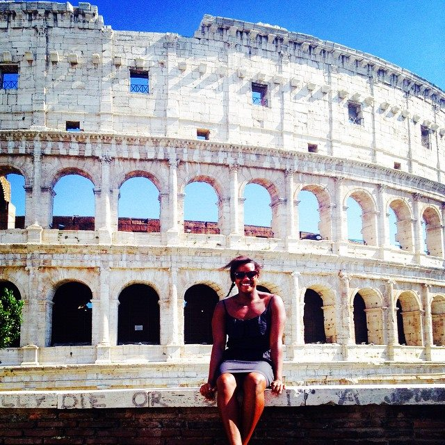 Larissa in Front of Colosseum - Solo Female Travel