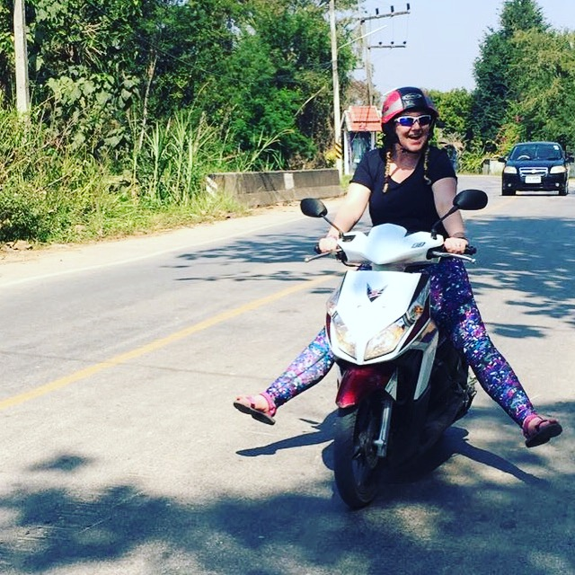 Learning to ride a moped in Chiang Rai, Thailand