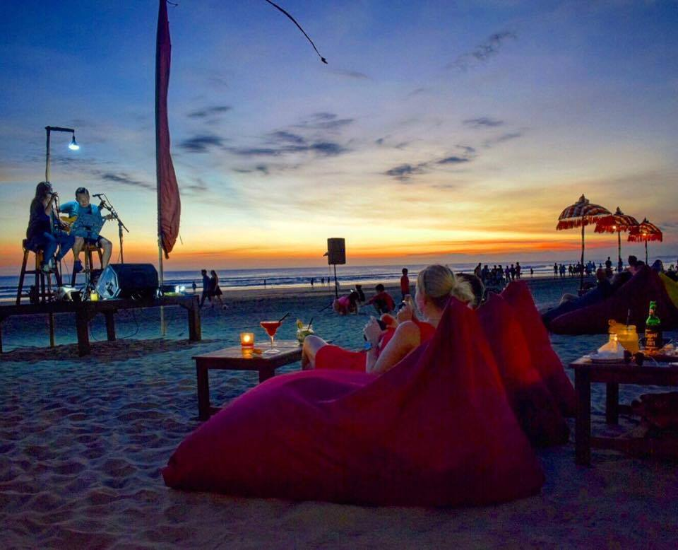Enjoying a dinner on the beach in Seminyak