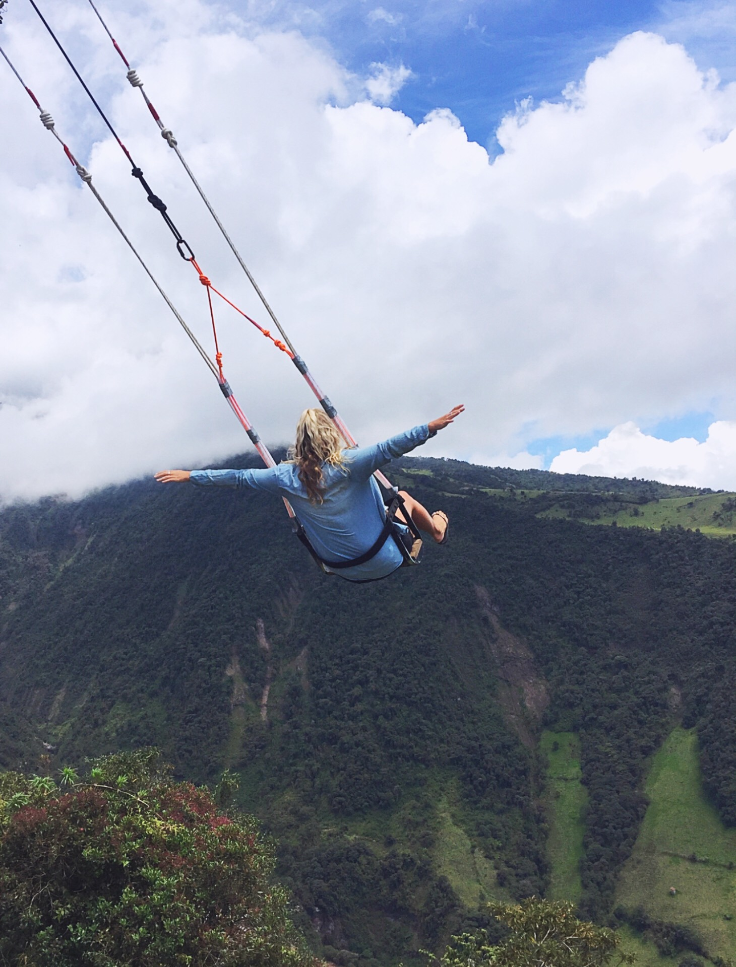 Swinging at the end of the world at the Casa De Arbor in Ecuador - Emma