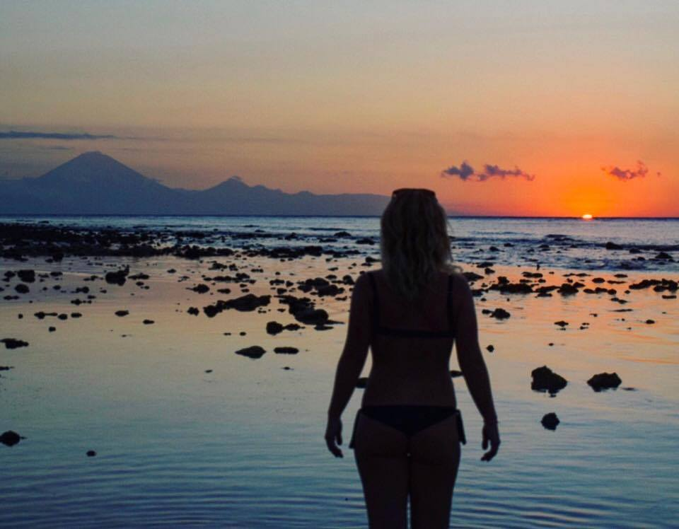 Sunset on the beach in Gili T