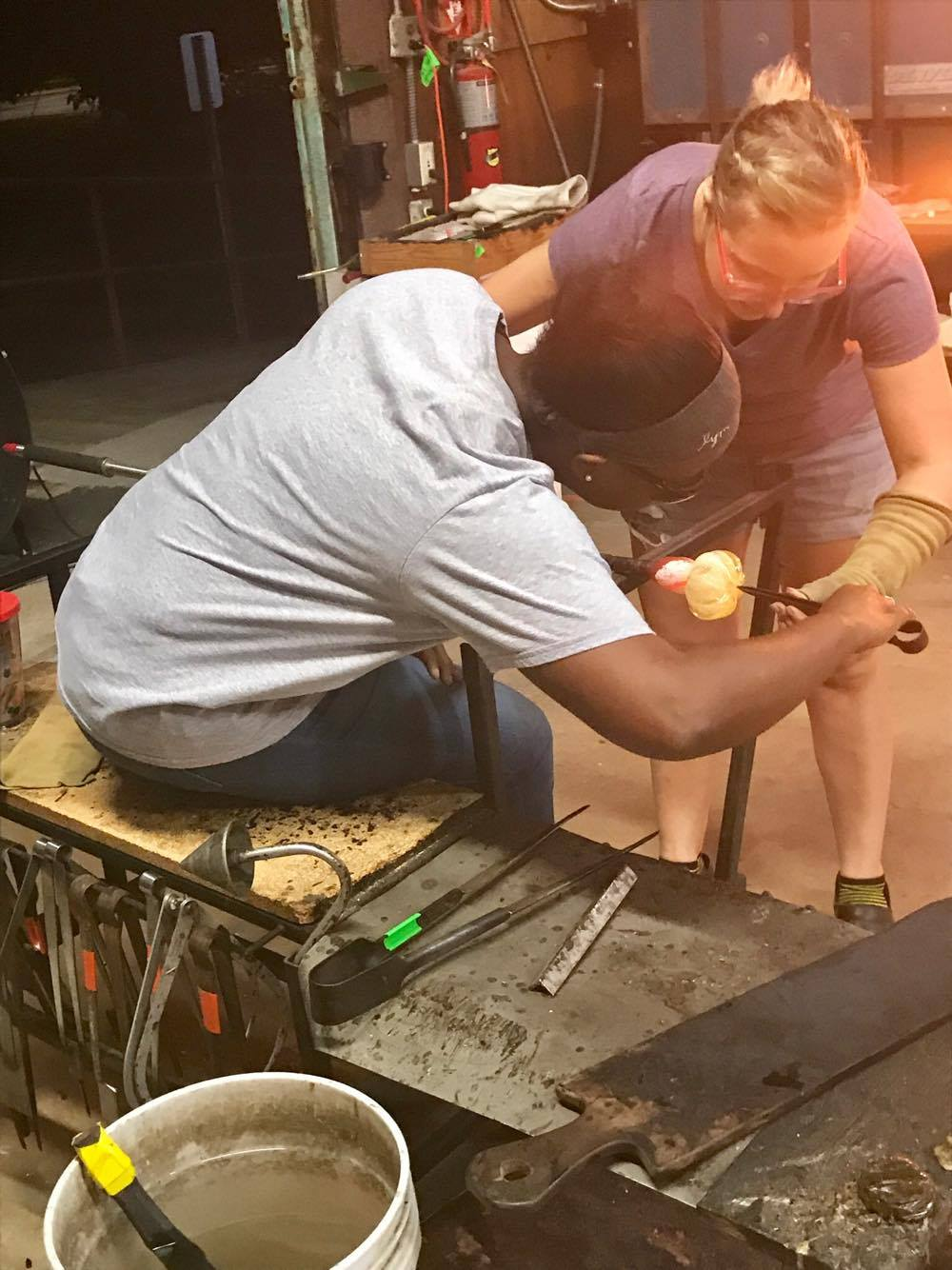 Making an Indent in the Bottom of the Pumpkin - Decatur Glassblowing