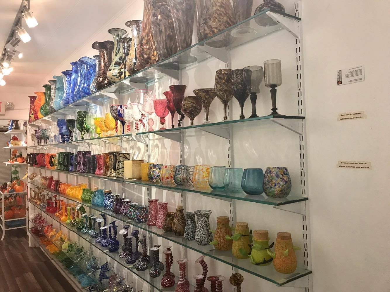 The Wall of Cups, Mugs, and Vases - Decatur Glassblowing