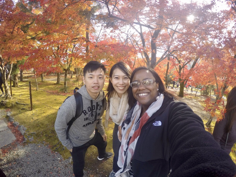 Wayne, Kaori, and I enjoying the beautiful colors - Osaka and Kyoto