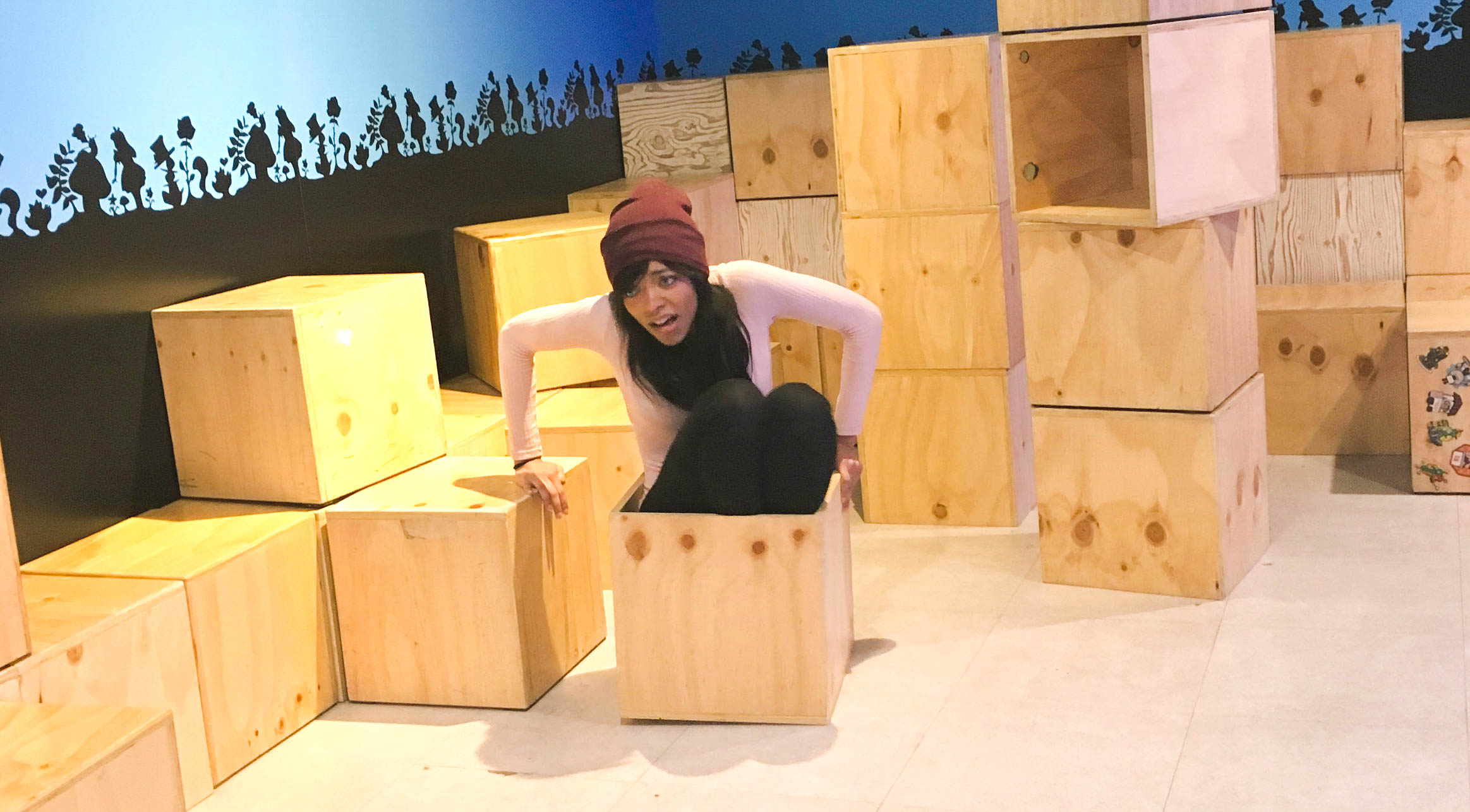 Me getting stuck in a box in a museum, The Alive Museum, Seoul, South Korea - Kay