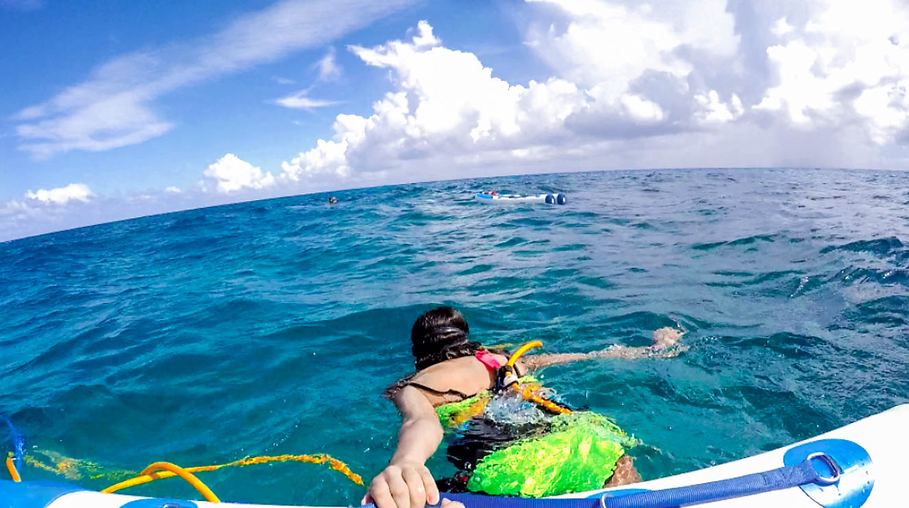 GoPro shot of me pulling my snuba boat, Barracuda Reef, Cozumel, Mexico - Kay