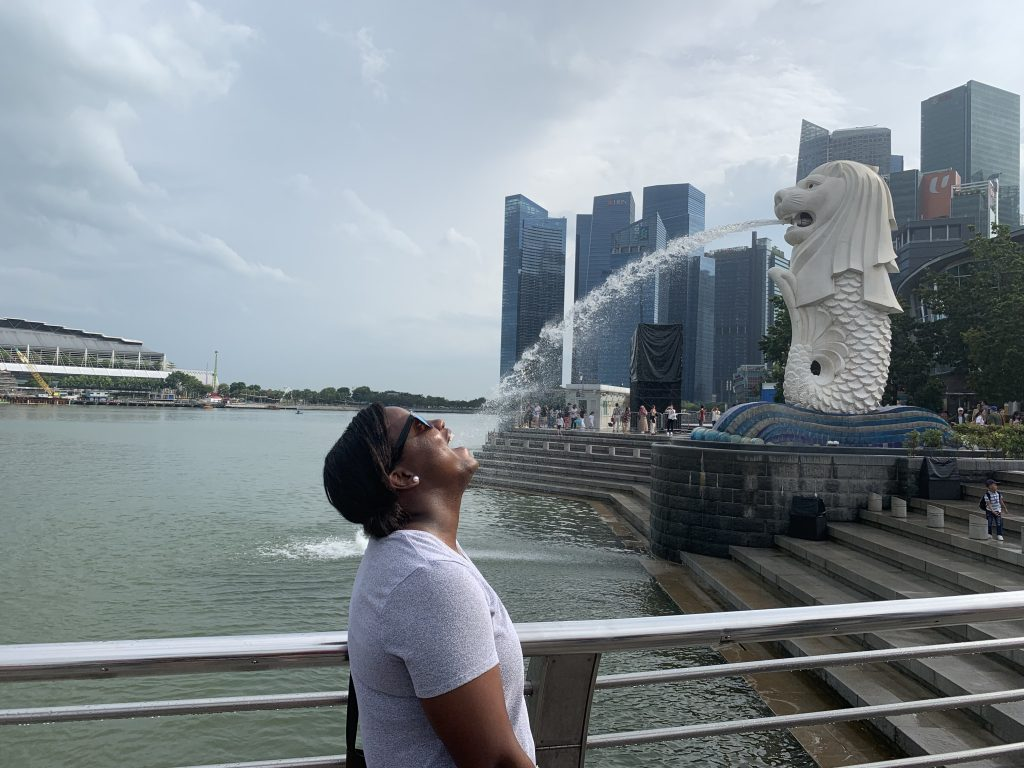 Drinking Water from the Merlion