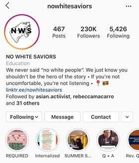 No White Saviors Instagram Page - Five on Friday